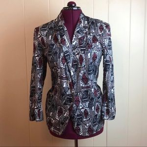 Vintage 80s/90s Long Sleeve Abstract Print Blazer